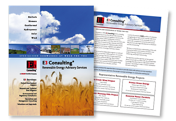 E3 Consulting Brochure For Renewable Energy Services