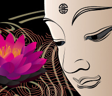 Lotus and Buddha Illustration